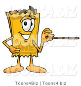 Illustration of a Cartoon Admission Ticket Mascot Holding a Pointer Stick by Toons4Biz