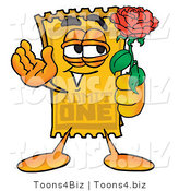 Illustration of a Cartoon Admission Ticket Mascot Holding a Red Rose on Valentines Day by Toons4Biz