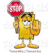 Illustration of a Cartoon Admission Ticket Mascot Holding a Stop Sign by Toons4Biz