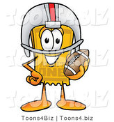 Illustration of a Cartoon Admission Ticket Mascot in a Helmet, Holding a Football by Toons4Biz