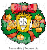 Illustration of a Cartoon Admission Ticket Mascot in the Center of a Christmas Wreath by Toons4Biz