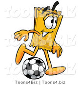 Illustration of a Cartoon Admission Ticket Mascot Kicking a Soccer Ball by Toons4Biz