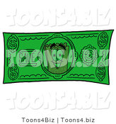 Illustration of a Cartoon Admission Ticket Mascot on a Dollar Bill by Toons4Biz