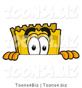 Illustration of a Cartoon Admission Ticket Mascot Peeking over a Surface by Toons4Biz