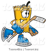 Illustration of a Cartoon Admission Ticket Mascot Playing Ice Hockey by Toons4Biz