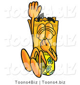Illustration of a Cartoon Admission Ticket Mascot Plugging His Nose While Jumping into Water by Toons4Biz