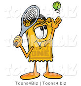 Illustration of a Cartoon Admission Ticket Mascot Preparing to Hit a Tennis Ball by Toons4Biz