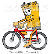 Illustration of a Cartoon Admission Ticket Mascot Riding a Bicycle by Toons4Biz