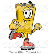 Illustration of a Cartoon Admission Ticket Mascot Roller Blading on Inline Skates by Toons4Biz