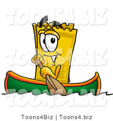 Illustration of a Cartoon Admission Ticket Mascot Rowing a Boat by Toons4Biz
