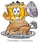 Illustration of a Cartoon Admission Ticket Mascot Serving a Thanksgiving Turkey on a Platter by Toons4Biz
