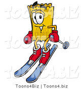 Illustration of a Cartoon Admission Ticket Mascot Skiing Downhill by Toons4Biz