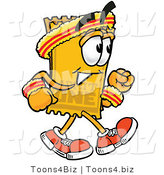 Illustration of a Cartoon Admission Ticket Mascot Speed Walking or Jogging by Toons4Biz