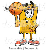 Illustration of a Cartoon Admission Ticket Mascot Spinning a Basketball on His Finger by Toons4Biz