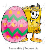 Illustration of a Cartoon Admission Ticket Mascot Standing Beside an Easter Egg by Toons4Biz