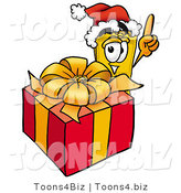 Illustration of a Cartoon Admission Ticket Mascot Standing by a Christmas Present by Toons4Biz