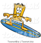 Illustration of a Cartoon Admission Ticket Mascot Surfing on a Blue and Yellow Surfboard by Toons4Biz