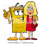 Illustration of a Cartoon Admission Ticket Mascot Talking to a Pretty Blond Woman by Toons4Biz
