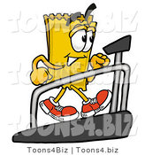 Illustration of a Cartoon Admission Ticket Mascot Walking on a Treadmill in a Fitness Gym by Toons4Biz
