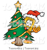 Illustration of a Cartoon Admission Ticket Mascot Waving and Standing by a Decorated Christmas Tree by Toons4Biz