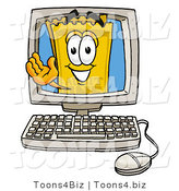 Illustration of a Cartoon Admission Ticket Mascot Waving from Inside a Computer Screen by Toons4Biz