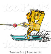 Illustration of a Cartoon Admission Ticket Mascot Waving While Water Skiing by Toons4Biz