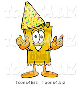 Illustration of a Cartoon Admission Ticket Mascot Wearing a Birthday Party Hat by Toons4Biz