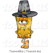 Illustration of a Cartoon Admission Ticket Mascot Wearing a Pilgrim Hat on Thanksgiving by Toons4Biz