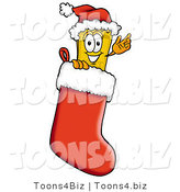 Illustration of a Cartoon Admission Ticket Mascot Wearing a Santa Hat Inside a Red Christmas Stocking by Toons4Biz