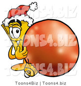Illustration of a Cartoon Admission Ticket Mascot Wearing a Santa Hat, Standing with a Christmas Bauble by Toons4Biz