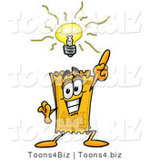 Illustration of a Cartoon Admission Ticket Mascot with a Bright Idea by Toons4Biz