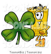 Illustration of a Cartoon Admission Ticket Mascot with a Green Four Leaf Clover on St Paddy's or St Patricks Day by Toons4Biz