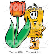 Illustration of a Cartoon Admission Ticket Mascot with a Red Tulip Flower in the Spring by Toons4Biz