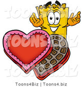 Illustration of a Cartoon Admission Ticket Mascot with an Open Box of Valentines Day Chocolate Candies by Toons4Biz
