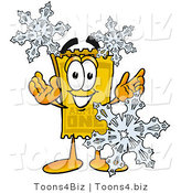 Illustration of a Cartoon Admission Ticket Mascot with Three Snowflakes in Winter by Toons4Biz