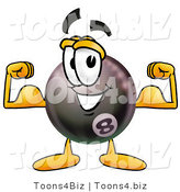 Illustration of a Cartoon Billiard 8 Ball Masco Flexing His Arm Muscles by Toons4Biz