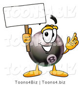 Illustration of a Cartoon Billiard 8 Ball Masco Holding a Blank Sign by Toons4Biz