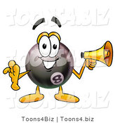 Illustration of a Cartoon Billiard 8 Ball Masco Holding a Megaphone by Toons4Biz