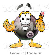 Illustration of a Cartoon Billiard 8 Ball Masco Holding a Pencil by Toons4Biz