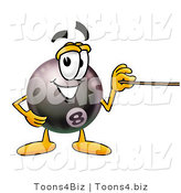 Illustration of a Cartoon Billiard 8 Ball Masco Holding a Pointer Stick by Toons4Biz