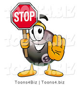 Illustration of a Cartoon Billiard 8 Ball Masco Holding a Stop Sign by Toons4Biz