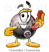Illustration of a Cartoon Billiard 8 Ball Masco Holding a Telephone by Toons4Biz