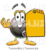 Illustration of a Cartoon Billiard 8 Ball Masco Holding a Yellow Sales Price Tag by Toons4Biz
