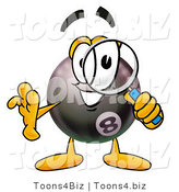 Illustration of a Cartoon Billiard 8 Ball Masco Looking Through a Magnifying Glass by Toons4Biz