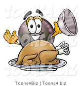 Illustration of a Cartoon Billiard 8 Ball Masco Serving a Thanksgiving Turkey on a Platter by Toons4Biz