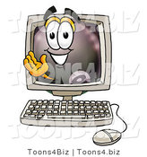 Illustration of a Cartoon Billiard 8 Ball Masco Waving from Inside a Computer Screen by Toons4Biz