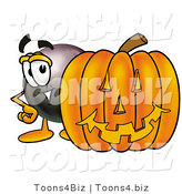 Illustration of a Cartoon Billiard 8 Ball Masco with a Carved Halloween Pumpkin by Toons4Biz