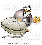 Illustration of a Cartoon Billiard 8 Ball Masco with a Computer Mouse by Toons4Biz