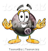 Illustration of a Cartoon Billiard 8 Ball Masco with Welcoming Open Arms by Toons4Biz