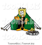 Illustration of a Cartoon Broom Mascot Camping with a Tent and Fire by Toons4Biz